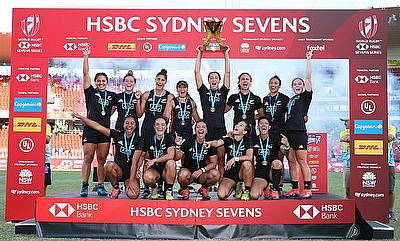 New Zealand players celebrate the Cup Final win over Australia on day three of the HSBC World Rugby Women's Sevens Series in Sydney