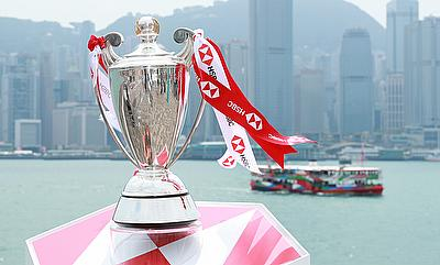 HSBC World Rugby Sevens Series trophy at the captain's photo prior to the HSBC World Rugby Sevens Series Qualifier in Hong Kong