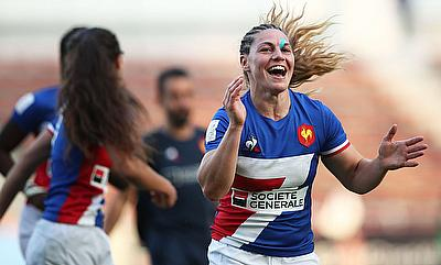 France's Chloe Pelle celebrates the win over New Zealand on day one of the HSBC World Rugby Women's Sevens Series in Kitakyushu