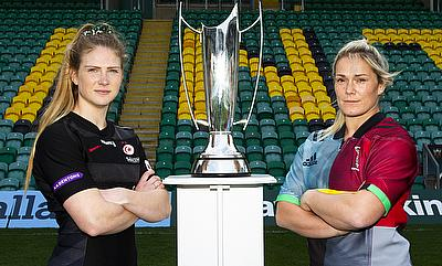 Saracens Women captain Lotte Clapp and captain of Harlequins Ladies Rachel Burford