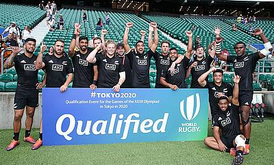 New Zealand celebrate their qualification for the Tokyo 2020 Olympic Games on day one of the World Rugby Sevens Series at Twickenham Stadium