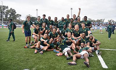 South Africa players celebrate with their bronze medals after beating Argentina 41-16 in their third place play-off at the Racecourse Stadium in Rosar