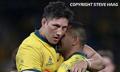 Adam Coleman (left) scored the opening try for Australia