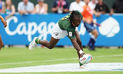 South Africa's Seabelo Senatla dots down a try against Samoa in their Cup semi-final on day three of the Emirates Airline Dubai Rugby Sevens 2019 men'