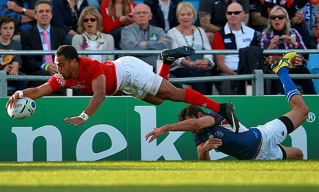 Tonga's Telusa Veainu dived for the line but his try was not given