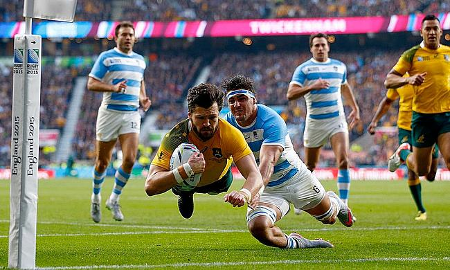 Adam Ashley-Cooper scoring one of three against Argentina