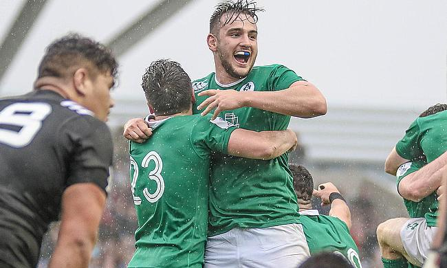 Ireland celebrate a first ever victory over New Zealand at the World Rugby U20 Championship