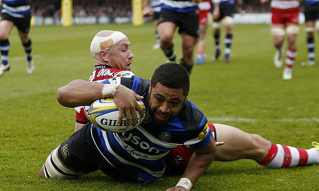 Taulupe Faletau scores Bath's first try against Gloucester
