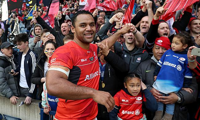 Billy Vunipola celebrates winning the Champions Cup final with family and friends
