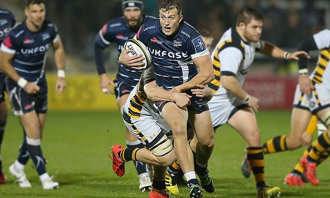 Sam Bedlow in action for Sale Sharks against Wasps