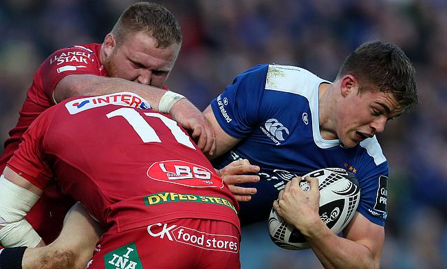 Scarlets' Steff Evans was sent off for his part in this tackle on Leinster's Garry Ringrose