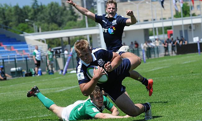 Scotland fly-half Connor Eastgate scores a try against Ireland in their must-win Pool B match at AIA Arena on day two of the World Rugby U20 Champions