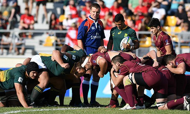 A scrum in the Pool C match between South Africa and Georgia at Avchala Stadium on day two of the World Rugby U20 Championship 2017 in Tbilisi