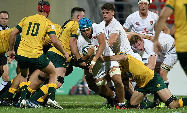 England captain Zach Mercer drives forward in their Pool A match with Australia at Avchala Stadium