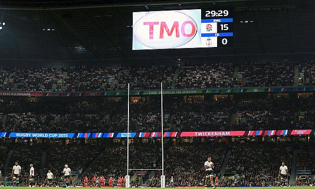 Rugby Union's TMO screen at Twickenham during the RWC 2015