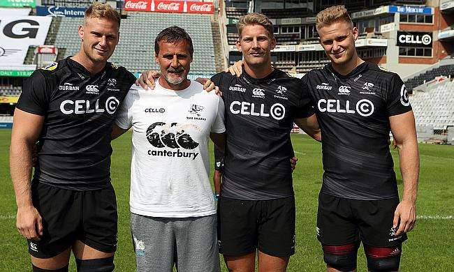 Jean-Luc du Preez  with Robert du Preez (Head Coach) of the Cell C Sharks -Robert du Preez - and Daniel Du Preez of the Cell C Sharks during the Cell