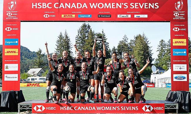 New Zealand Women's team celebrating their win in Canada leg