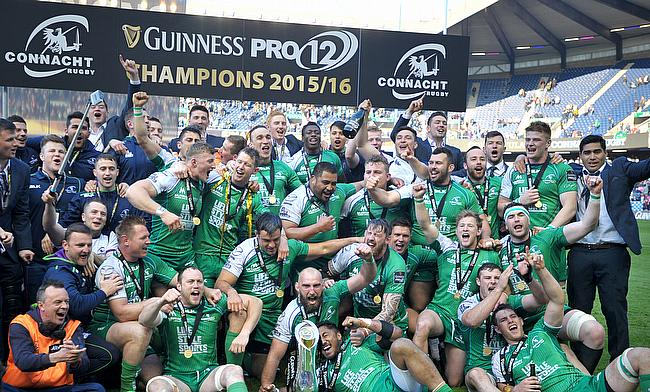 Connacht celebrating their Pro12 title win in 2015/16 season