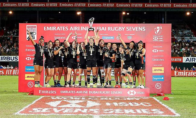 New Zealand Women celebrating their Dubai 7s title victory
