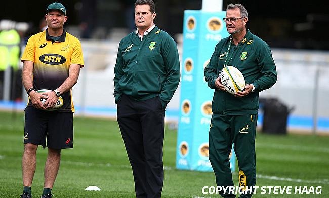 Rassie Erasmus (centre) wants to focus on his director of rugby role post World Cup