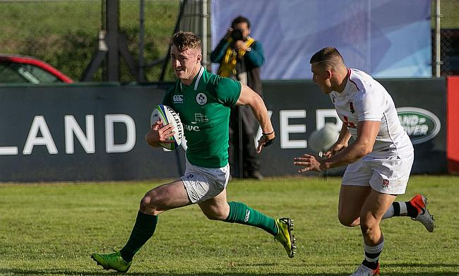 Ireland break through the England defence in their Pool B match at Club de Rugby Ateneo Inmaculada (CRAI) in Santa Fe on day one of the World Rugby U2