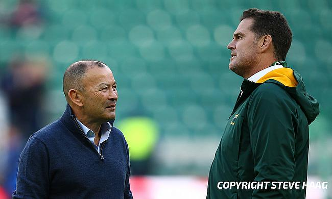Eddie Jones (left) and Rassie Erasmus