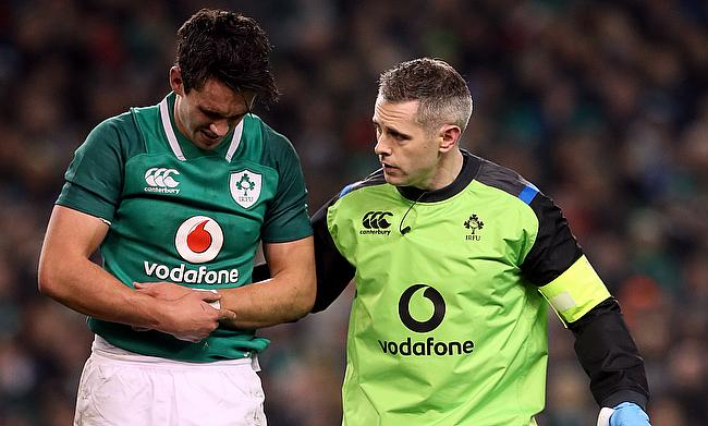 Joey Carbery (left) is recovering from an ankle injury