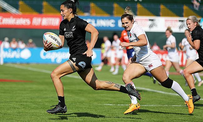 New Zealand's Shiray Kaka cuts through the England defence to score a try on day two of the Emirates Airline Dubai Rugby Sevens