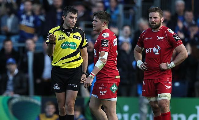Steff Evans (centre) has played 111 appearances for Scarlets